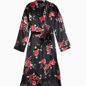 Apt. 9 black floral tie satin long robe